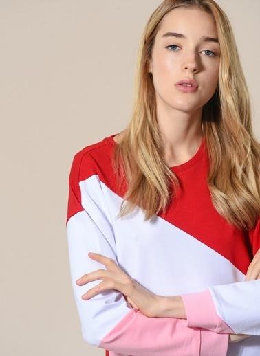 Agenda Renk Bloklu Sweatshirt Kırmızı